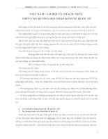 VIỆT NAM - CƠ HỘI VÀ THÁCH THỨC  TRÊN CON ĐƯỜNG HỘI NHẬP KINH TẾ QUỐC TẾ