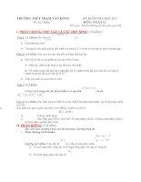 Đề kiểm tra môn toán khối 11