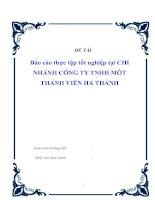 báo cáo thực tập tốt nghiệp tại chi nhánh công ty TNHH một thành viên hà thành