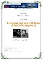 Lý thueets của Elton Mayo và Mc.Gregor về tâm lỹ xã hội trong quản trị