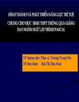 Hình thành và phát triển năng lực trí tuệ chung cho học sinh THPT qua giảng dạy ngôn ngữ lập trình pascal