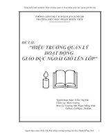 HIỆU TRƯỞNG QUẢN LÝ  HOẠT ĐỘNG  GIÁO DỤC NGOÀI GIỜ LÊN LỚP