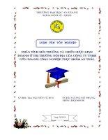 Luận văn tốt nghiệp: Phân tích tình hình và hiệu quả sử dụng vốn tại công ty ANGIMEX