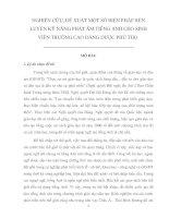 NGHIÊN CỨU, ĐỀ XUẤT MỘT SỐ BIỆN PHÁP RÈN LUYỆN KỸ NĂNG PHÁT ÂM TIẾNG ANH CHO SINH VIÊN TRƯỜNG CAO ĐẲNG DƯỢC PHÚ THỌ
