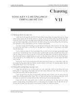 Chương VII TỔNG KẾT VÀ HƯỚNG PHÁT  TRIỂN CHO ĐỀ TÀI