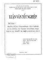 432 Phân tích tình hình tài chính của công ty TNHH Thương Mại-Dịch Vụ thiết bị điện Hoàng Huy