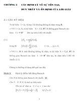 các định lý về sự tồn tại, duy nhất và ổn định của lời giải