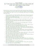 SỰ THAM GIA CỦA CỘNG ĐỒNG LÀ CHÌA KHÓA ĐỂ PHÁT HUY SỨC MẠNH CỘNG ĐỒNG