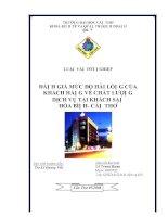 Đánh giá mức độ hài lòng của khách hàng về chất lượng dịch vụ tại khách sạn Hòa Bình Cần Thơ