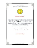 PHÂN TÍCH QUY TRÌNH THẨM ĐỊNH TÍN DỤNG TRUNG - DÀI HẠN TẠI NGÂN HÀNG TMCP NGOẠI THƯƠNG  CHI NHÁNH AN GIANG