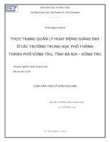 Thực trạng quản lý hoạt động giảng dạy ở các trường THPT thành phố Vũng Tàu