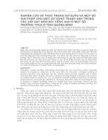 NGHIÊN CỨU VỀ THỰC TRẠNG SỬ DỤNG VÀ MỘT SỐ  GIẢI PHÁP CHO VIỆC SỬ DỤNG TRANH ẢNH TRONG  CÁC GIỜ DẠY MÔN NÓI TIẾNG ANH Ở MỘT SỐ  TRƯỜNG THCS Ở TỈNH QUẢNG BÌNH
