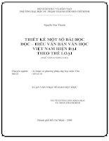 Thiết kế một số bài học đọc - hiểu văn bản văn học Việt Nam hiện đại theo thể loại