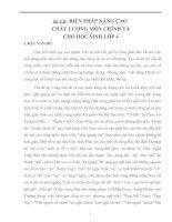 BIỆN PHÁP NÂNG CAO  CHẤT LƯỢNG MÔN CHÍNH TẢ CHO HỌC SINH LỚP 4