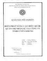Biện pháp nâng cao hiệu quả quản trị nhân sự tại công ty TNHH uyên Khang