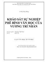 Khảo sát sự nghiệp phê bình văn học của Vương Trí Nhàn