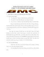 PHÂN TÍCH BÁO CÁO TÀI CHÍNH  CÔNG TY CP KHOÁNG SẢN BÌNH ĐỊNH  BMC