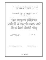 Hiện trạng và giải pháp quản lý tài nguyên nước dưới đất ở Đà nẵng