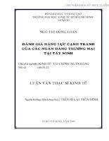 Đánh giá năng lực cạnh tranh của các ngân hàng thương mại tại Tây Ninh
