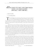 PHƯƠNG PHÁP TỔ CHỨC TRÒ CHƠI NHẰM NÂNG CAO CHẤT LƯỢNG TIẾT DẠY - MÔN THỂ DỤC