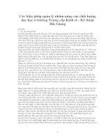 CÁC BIỆN PHÁP QUẢN LÝ NHẰM NÂNG CAO CHẤT LƯỢNG DẠY HỌC Ở TRƯỜNG TRUNG CẤP KINH TẾ KỸ THUẬT BẮC GIANG