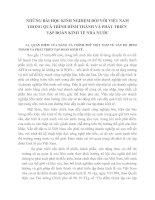 NHỮNG BÀI HỌC KINH NGHIỆM ĐỐI VỚI VIỆT NAM TRONG QUÁ TRÌNH HÌNH THÀNH VÀ PHÁT TRIỂN