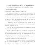 LỰA CHỌN HỆ THỐNG CHỈ TIÊU VÀ PHƯƠNG PHÁP PHÂN TÍCH HOẠT ĐỘNG KINH DOANH CỦA DOANH NGHIỆP