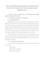 THỰC TRẠNG MỞ RỘNG HOẠT ĐỘNG TÍN DỤNG ĐỐI VỚI HỘ SẢN XUẤT TẠI NHNo PTNT HUYỆN TỪ SƠN TRONG THỜI GIAN QUA