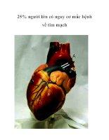 25% người lớn có nguy cơ mắc bệnh về tim mạch