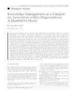 Knowledge Management as a Catalyst for Innovation within Organizations: A Qualitative Study