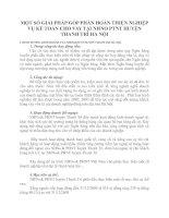 MỘT SỐ GIẢI PHÁP GÓP PHẦN HOÀN THIỆN NGHIỆP VỤ KẾ TOÁN CHO VAY TẠI NHNO PTNT HUYỆN THANH TRÌ HÀ NỘI