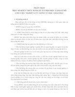 MỘT SỐ KIẾN THỨC KINH TẾ XÃ HỘI HỌC LÀM CƠ SỞ CHO VIỆC NGHIÊN CỨU KINH TẾ HỌC GIÁO DỤC