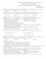 Đề thi thử đại học môn Vật lý 17