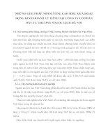 NHỮNG GIẢI PHÁP NHẰM NÂNG CAO HIỆU QUẢ HOẠT ĐỘNG KINH DOANH LỮ HÀNH TẠI CÔNG TY CỔ PHẦN ĐẦU TƯ THƯƠNG MẠI DU LỊCH HÀ NỘI