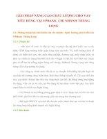 GIẢI PHÁP NÂNG CAO CHẤT LƯỢNG CHO VAY TIÊU DÙNG TẠI VPBANK  CHI NHÁNH THĂNG LONG