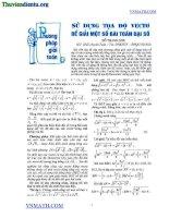 Sử dụng tọa độ vector để giải một số bài toán đại số