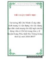 """Tiểu luận """"Tư tưởng Hồ Chí Minh về đạo đức cách mạng và vận dụng vào xây dựng đạo đức cách mạng cho đội ngũ cán bộ đảng viên"""