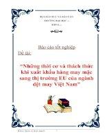 """Luận văn tốt nghiệp """"Những thời cơ và thách thức khi xuất khẩu hàng may mặc sang thị trường EU của ngành dệt may Việt Nam"""""""