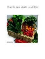 10 nguyên tắc ăn uống tốt cho sức khỏe