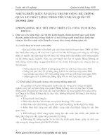 NHỮNG ĐIỀU KIỆN ÁP DỤNG THÀNH CÔNG HỆ THỐNG QUẢN LÝ CHẤT LƯỢNG THEO TIÊU CHUẨN QUỐC TẾ ISO9001 2000