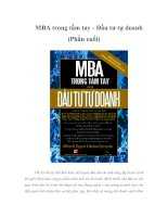 MBA trong tầm tay - Đầu tư tự doanh (Phần cuối)
