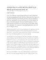 ẢNH HƯỞNG CỦA MÔI TRƯỜNG PHÁP LUẬT TRONG KINH DOANH QUỐC TẾ