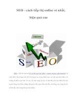 SEO - cách tiếp thị online rẻ nhất, hiệu quả cao