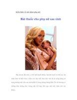 Kiến thức về sức khoẻ phụ nữ: Bài thuốc cho phụ nữ sau sinh