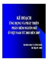 Kế hoạch ứng dụng và phát triển phần mềm nguồn mở ở Việt Nam từ 2003 - 2007