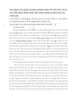 TÁC ĐỘNG CỦA CUỘC KHỦNG HOẢNG KINH TẾ THẾ GIỚI  VÀ VỊ THẾ CỦA HÀNG NÔNG SẢN VIỆT NAM TRONG CHUỖI GIÁ TRỊ TOÀN CẦU