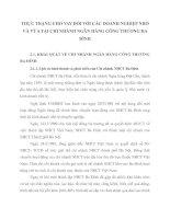 THỰC TRẠNG CHO VAY ĐỐI VỚI CÁC DOANH NGHIỆP NHỎ VÀ VỪA TẠI CHI NHÁNH NGÂN HÀNG CÔNG THƯƠNG BA ĐÌNH