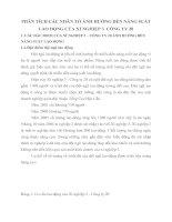 PHÂN TÍCH CÁC NHÂN TỐ ẢNH HƯỞNG ĐẾN NĂNG SUẤT LAO ĐỘNG CỦA XÍ NGHIỆP 3  CÔNG TY 20