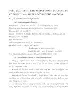 TỔNG QUAN VỀ TÌNH HÌNH KINH DOANH CỦA CÔNG TY CỔ PHẦN TƯ VẤN THIẾT KẾ CÔNG NGHỆ XÂY DỰNG