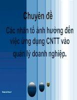 Các nhân tố ảnh hưởng đến việc ứng dụng CNTT vào quản lý doanh nghiệp
